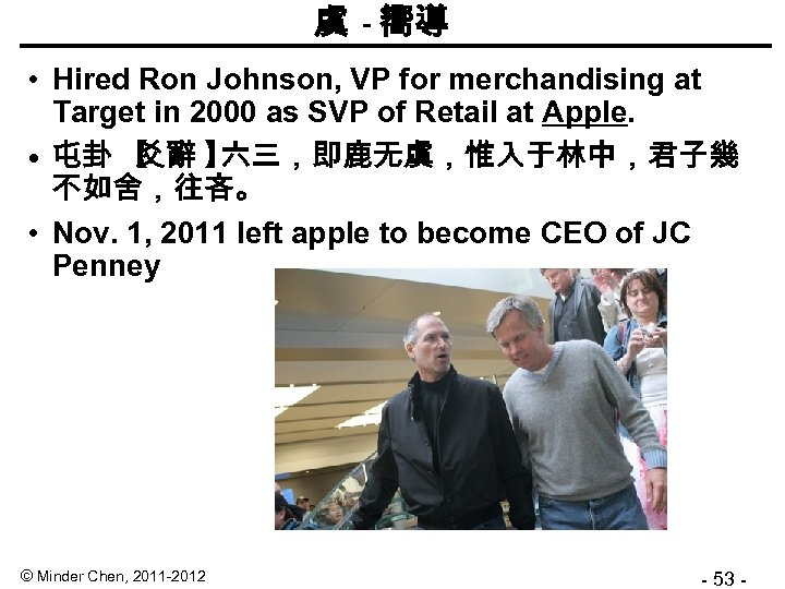 虞 - 嚮導 • Hired Ron Johnson, VP for merchandising at Target in 2000