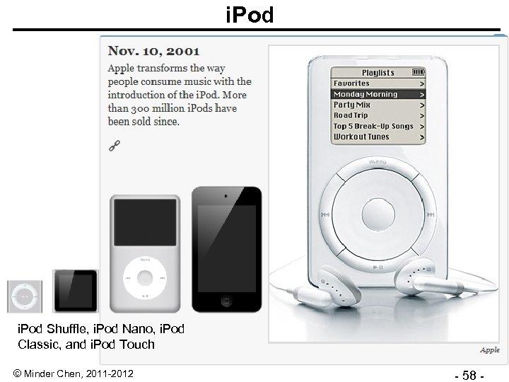 i. Pod Shuffle, i. Pod Nano, i. Pod Classic, and i. Pod Touch ©