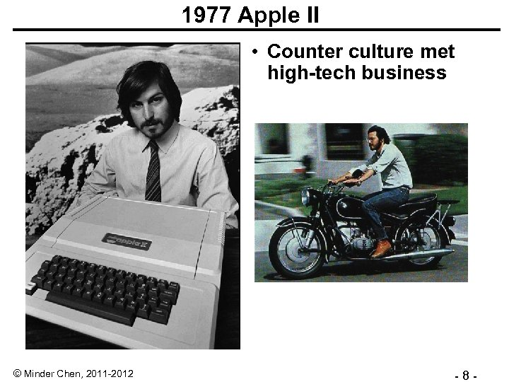 1977 Apple II • Counter culture met high-tech business © Minder Chen, 2011 -2012