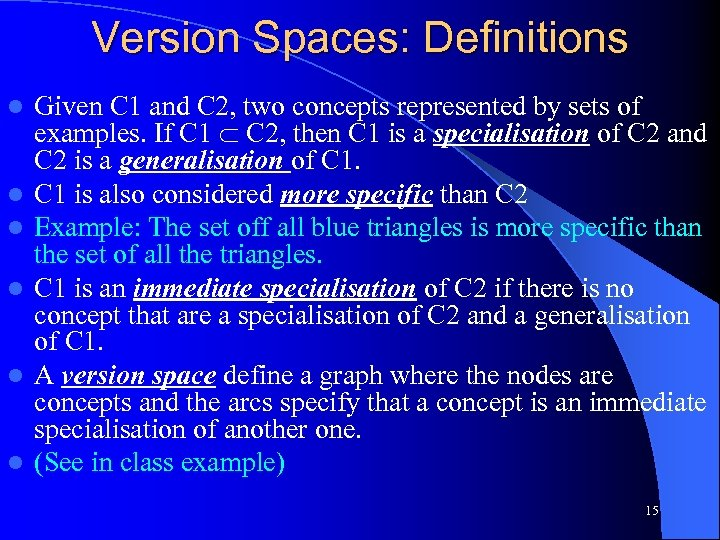 Version Spaces: Definitions l l l Given C 1 and C 2, two concepts