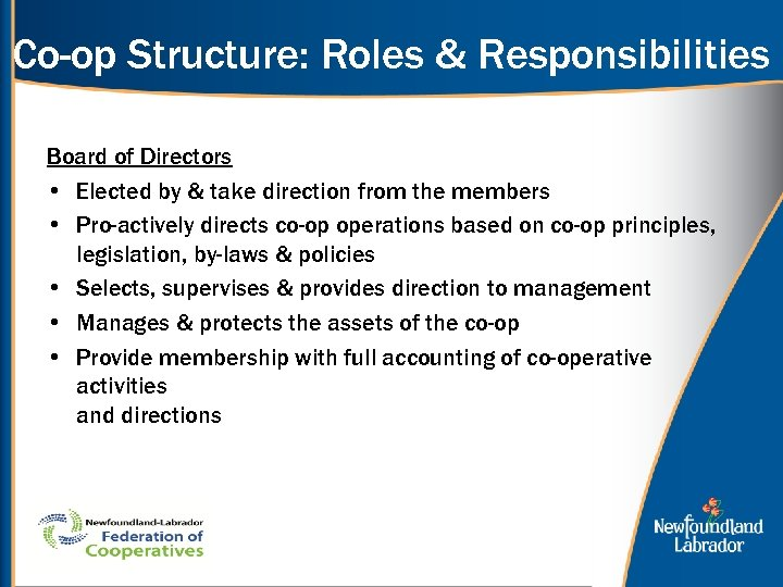 Co-op Structure: Roles & Responsibilities Board of Directors • Elected by & take direction