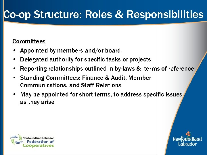 Co-op Structure: Roles & Responsibilities Committees • Appointed by members and/or board • Delegated