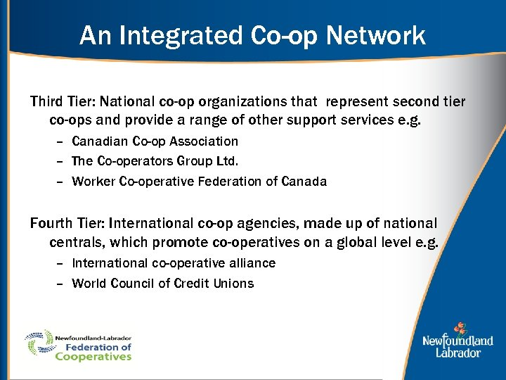 An Integrated Co-op Network Third Tier: National co-op organizations that represent second tier co-ops