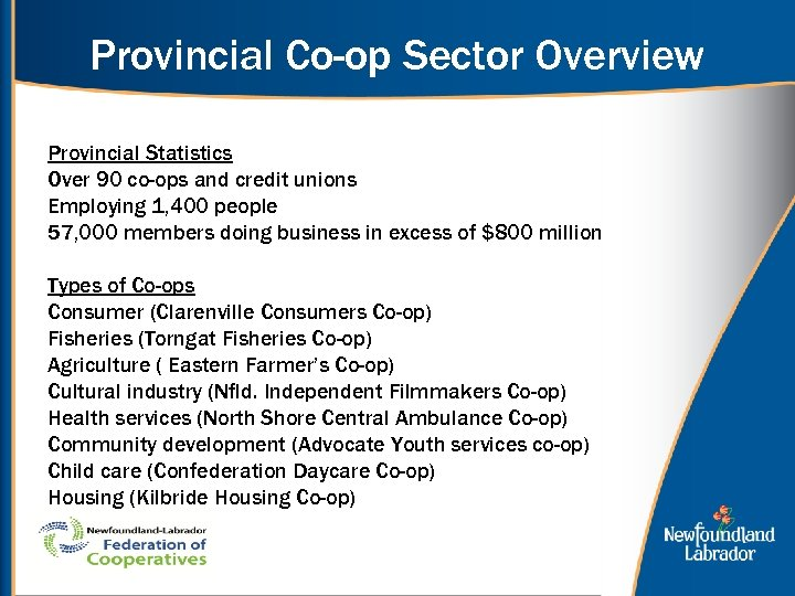 Provincial Co-op Sector Overview Provincial Statistics Over 90 co-ops and credit unions Employing 1,