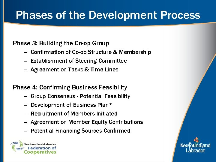 Phases of the Development Process Phase 3: Building the Co-op Group – Confirmation of