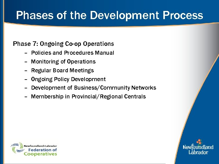 Phases of the Development Process Phase 7: Ongoing Co-op Operations – – – Policies