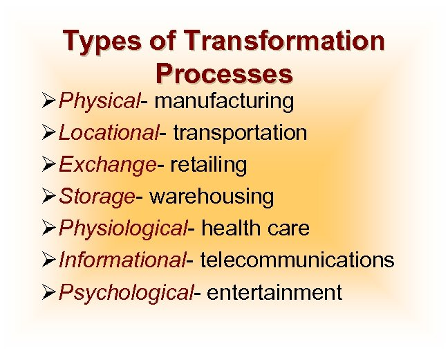 Types of Transformation Processes ØPhysical- manufacturing ØLocational- transportation ØExchange- retailing ØStorage- warehousing ØPhysiological- health