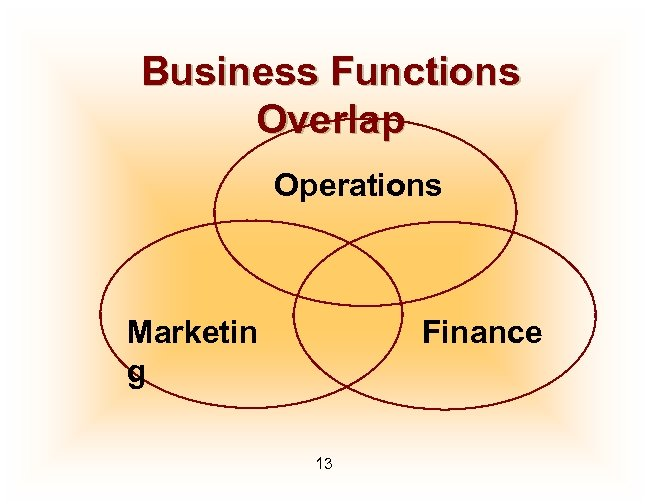 Business Functions Overlap Operations Marketin g Finance 13