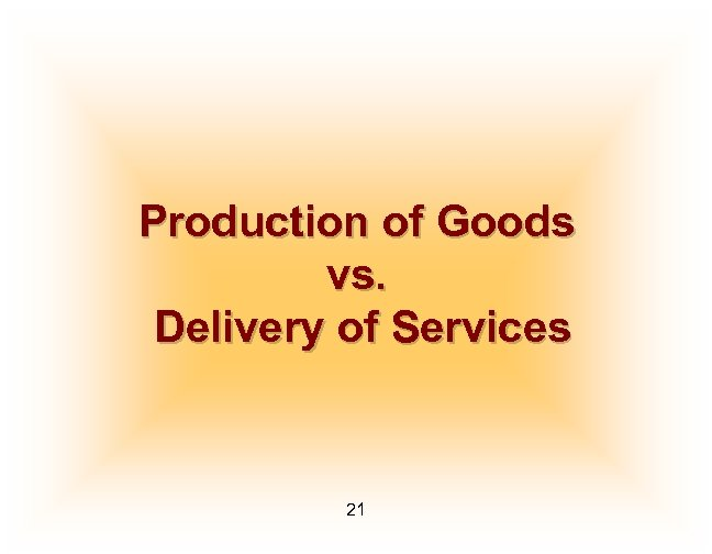 Production of Goods vs. Delivery of Services 21
