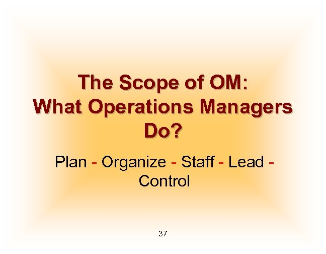 The Scope of OM: What Operations Managers Do? Plan - Organize - Staff -