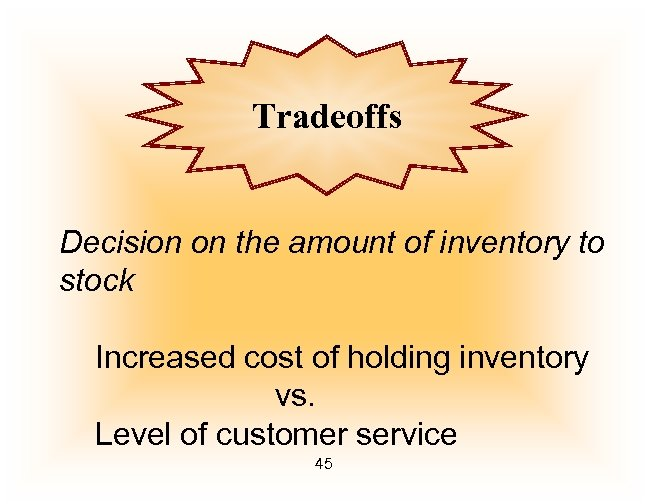 Tradeoffs Decision on the amount of inventory to stock Increased cost of holding inventory