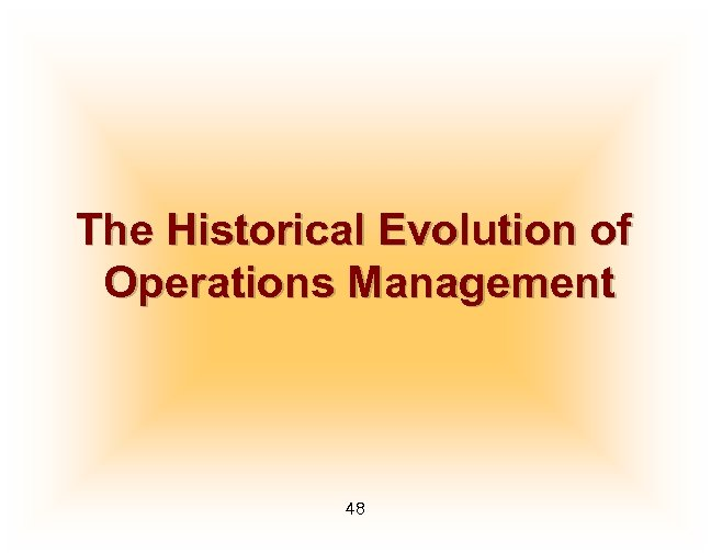 The Historical Evolution of Operations Management 48