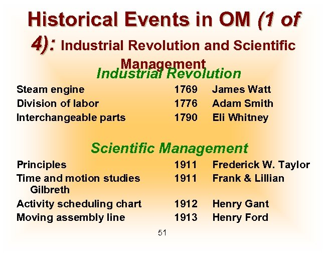 Historical Events in OM (1 of 4): Industrial Revolution and Scientific Management Industrial Revolution