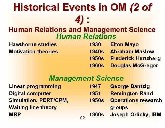 Historical Events in OM (2 of 4) : Human Relations and Management Science Human