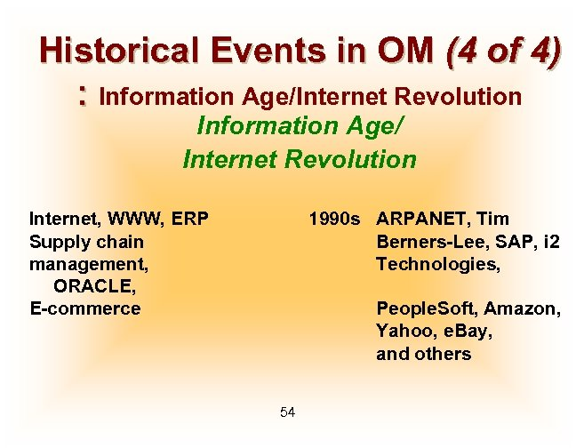 Historical Events in OM (4 of 4) : Information Age/Internet Revolution Information Age/ Internet