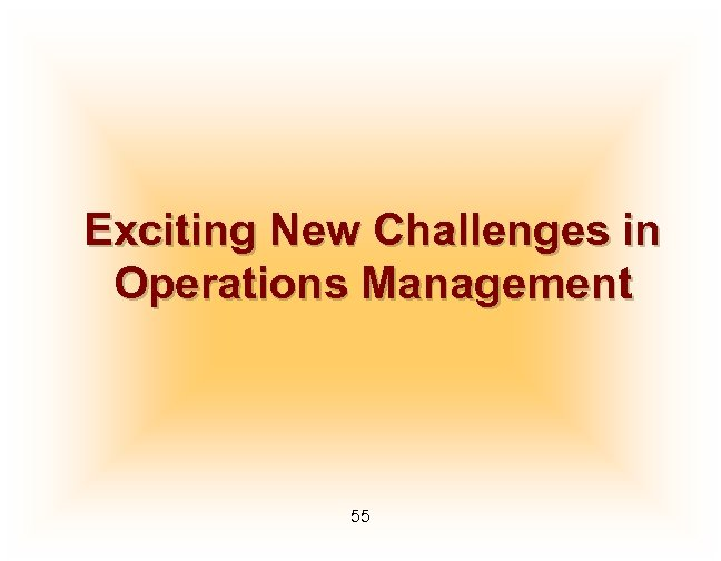 Exciting New Challenges in Operations Management 55