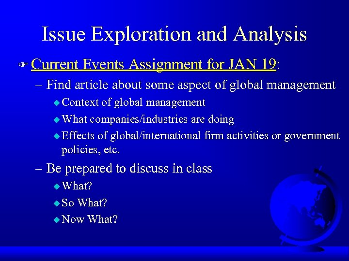 Issue Exploration and Analysis F Current Events Assignment for JAN 19: – Find article
