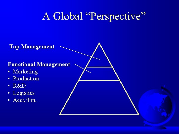 """A Global """"Perspective"""" Top Management Functional Management • Marketing • Production • R&D •"""