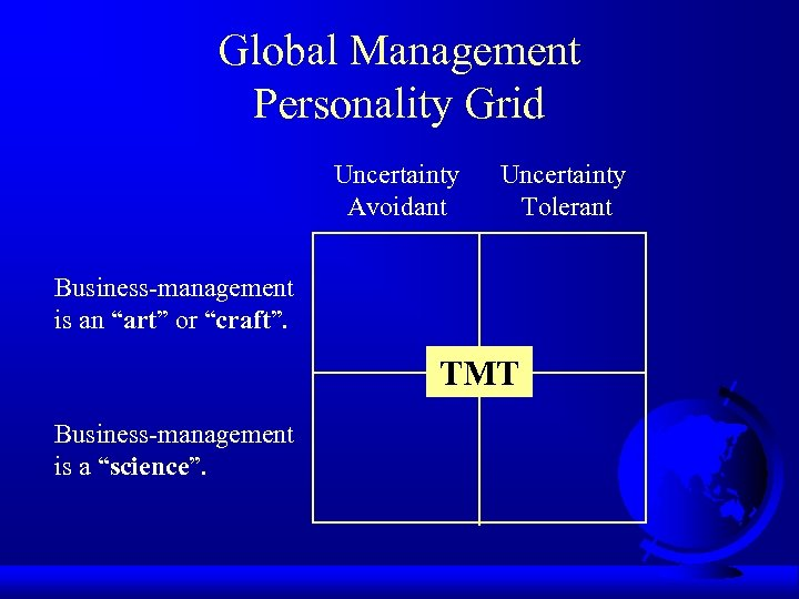"""Global Management Personality Grid Uncertainty Avoidant Uncertainty Tolerant Business-management is an """"art"""" or """"craft""""."""