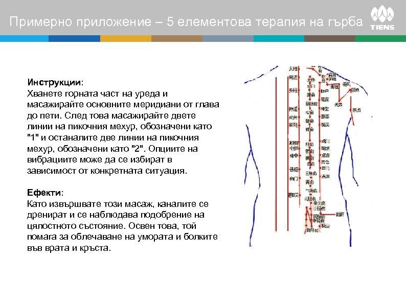 Примерно приложение – 5 елементова терапия на гърба Инструкции: Хванете горната част на уреда