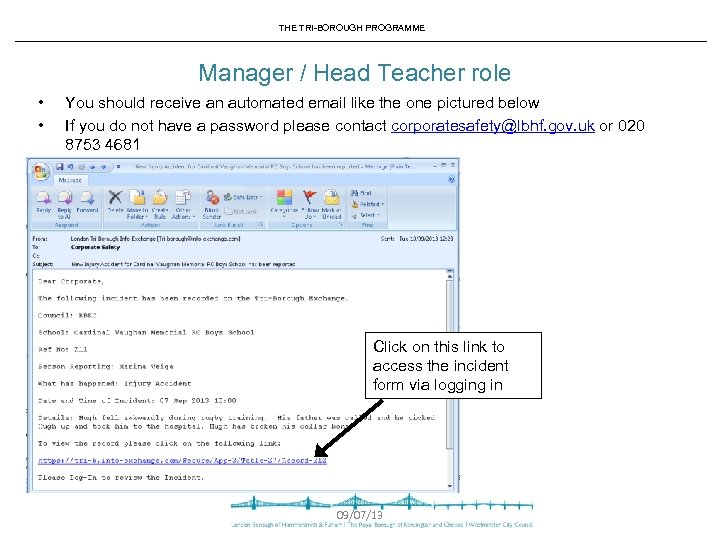 THE TRI-BOROUGH PROGRAMME Manager / Head Teacher role • • You should receive an