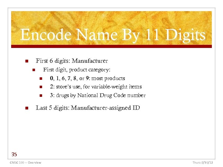Encode Name By 11 Digits First 6 digits: Manufacturer n First digit, product category: