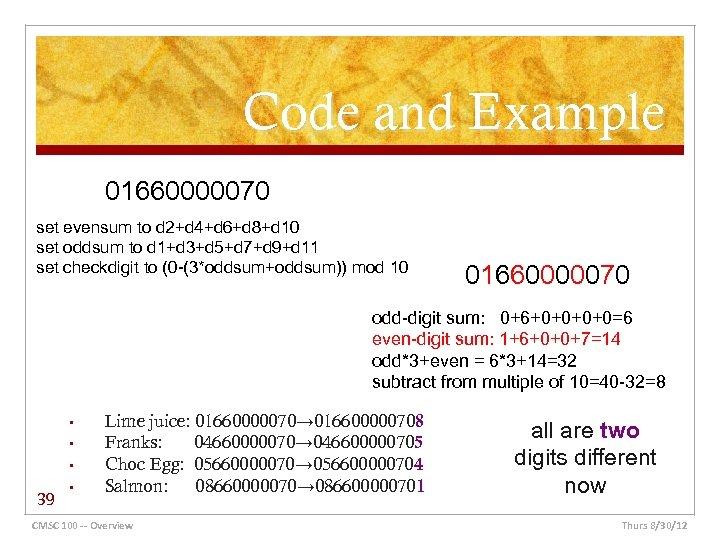 Code and Example 01660000070 set evensum to d 2+d 4+d 6+d 8+d 10 set