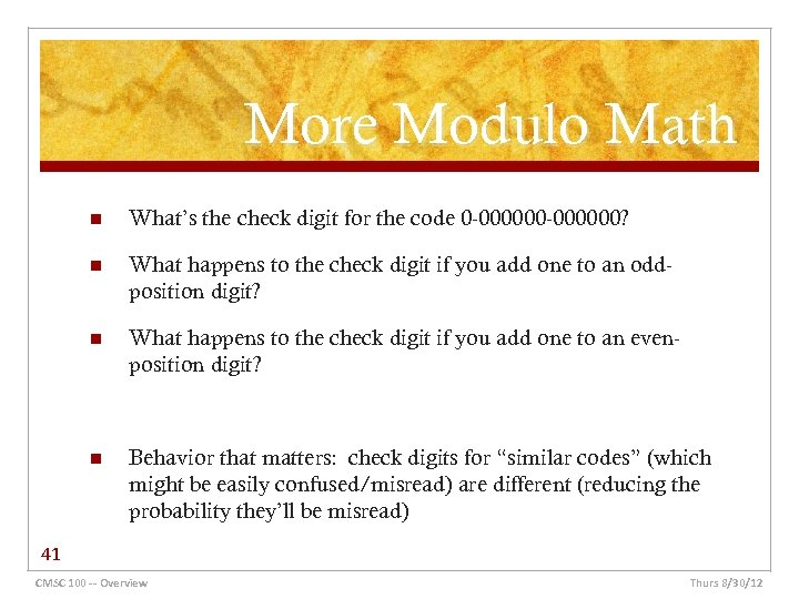 More Modulo Math n What's the check digit for the code 0 -000000? n