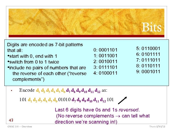 Bits Digits are encoded as 7 -bit patterns that all: • start with 0,