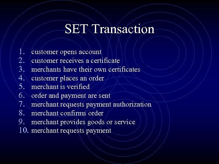 SET Transaction 1. 2. 3. 4. 5. 6. 7. 8. 9. 10. customer opens