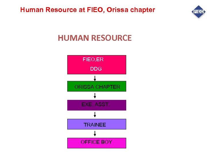 Human Resource at FIEO, Orissa chapter HUMAN RESOURCE FIEO, ER DDG ORISSA CHAPTER EXE.