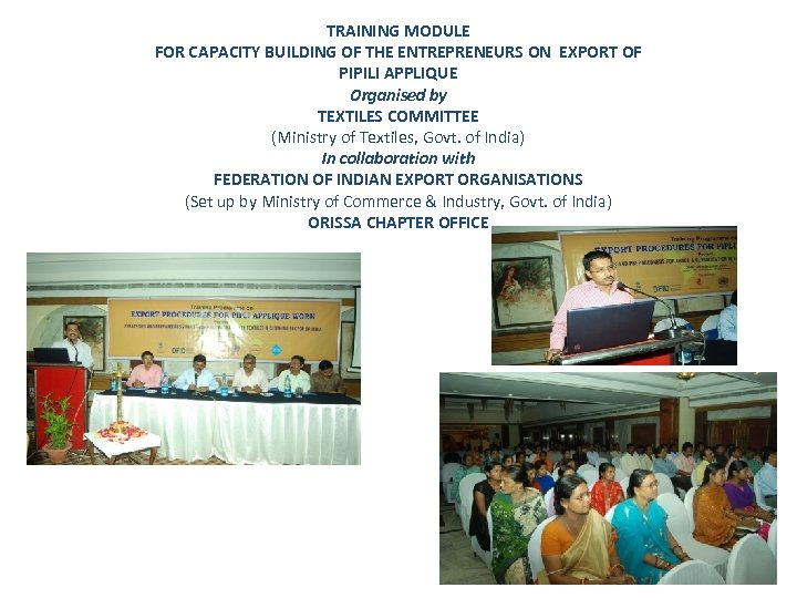 TRAINING MODULE FOR CAPACITY BUILDING OF THE ENTREPRENEURS ON EXPORT OF PIPILI APPLIQUE Organised