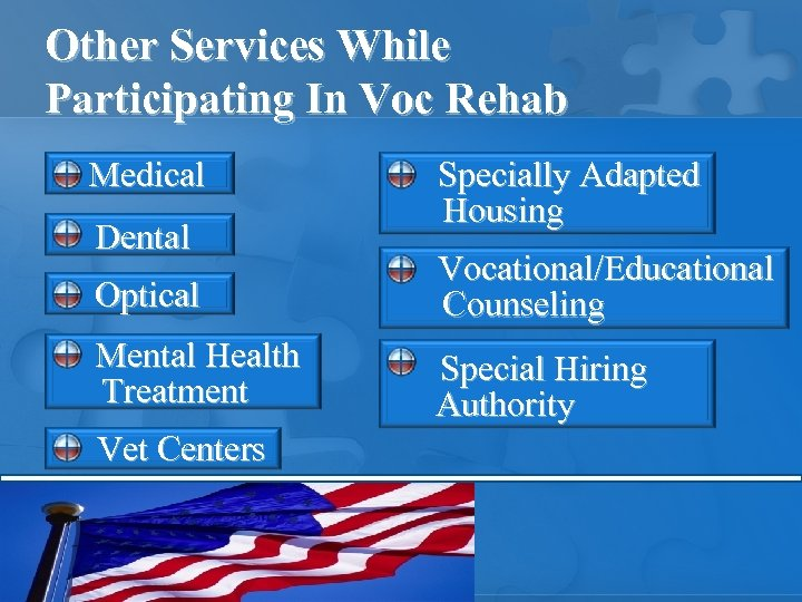 Other Services While Participating In Voc Rehab Medical Dental Specially Adapted Housing Optical Vocational/Educational
