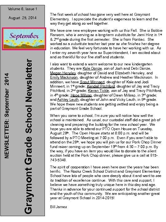 Volume 6, Issue 1 Graymont Grade School Newsletter NEWSLETTER: September 2014 August 25, 2014