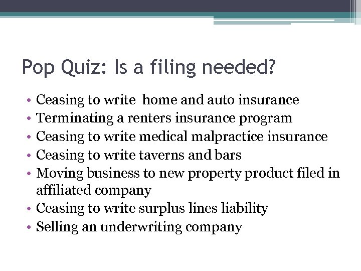 Pop Quiz: Is a filing needed? • • • Ceasing to write home and