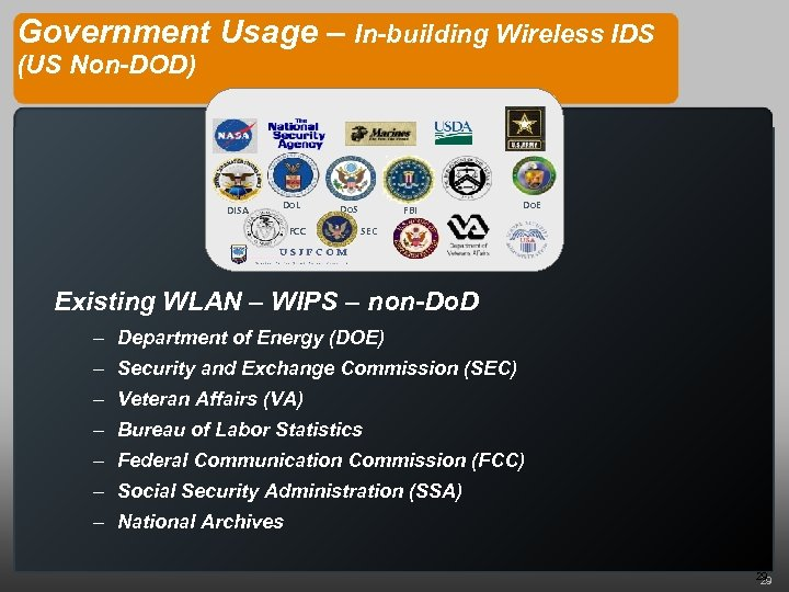 Government Usage – In-building Wireless IDS (US Non-DOD) DISA Do. L FCC Do. S