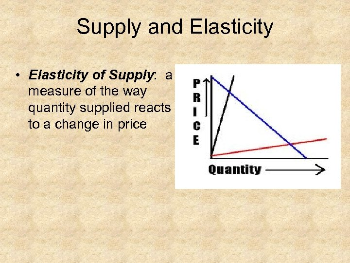 Supply and Elasticity • Elasticity of Supply: a measure of the way quantity supplied