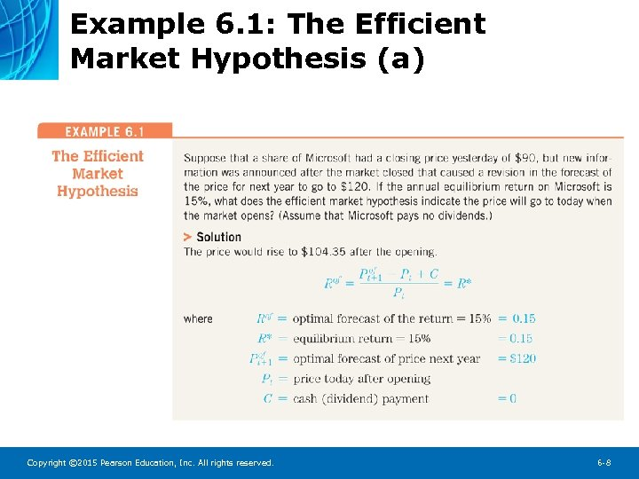 Example 6. 1: The Efficient Market Hypothesis (a) Copyright © 2015 Pearson Education, Inc.