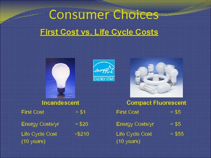 Consumer Choices First Cost vs. Life Cycle Costs Incandescent Compact Fluorescent First Cost =