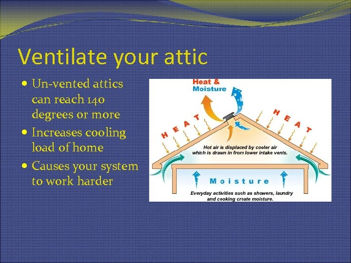 Ventilate your attic Un-vented attics can reach 140 degrees or more Increases cooling load
