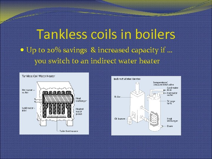 Tankless coils in boilers Up to 20% savings & increased capacity if … you