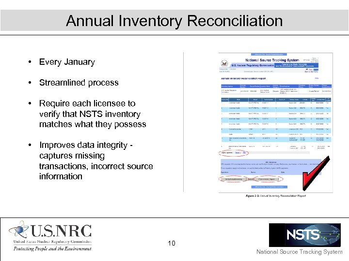 Annual Inventory Reconciliation • Every January • Streamlined process • Require each licensee to