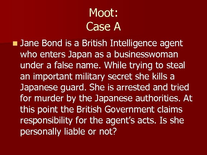 Moot: Case A n Jane Bond is a British Intelligence agent who enters Japan
