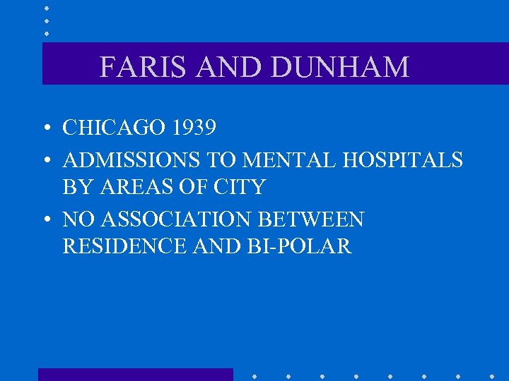 FARIS AND DUNHAM • CHICAGO 1939 • ADMISSIONS TO MENTAL HOSPITALS BY AREAS OF