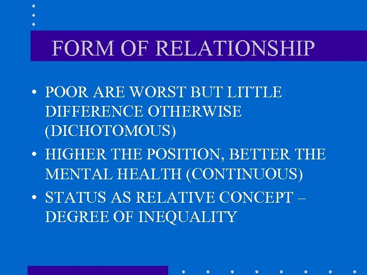 FORM OF RELATIONSHIP • POOR ARE WORST BUT LITTLE DIFFERENCE OTHERWISE (DICHOTOMOUS) • HIGHER