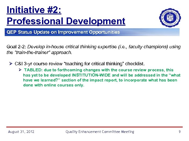 Initiative #2: Professional Development QEP Status Update on Improvement Opportunities Goal 2 -2: Develop