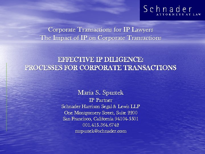 Corporate Transactions for IP Lawyers The Impact of IP on Corporate Transactions EFFECTIVE IP
