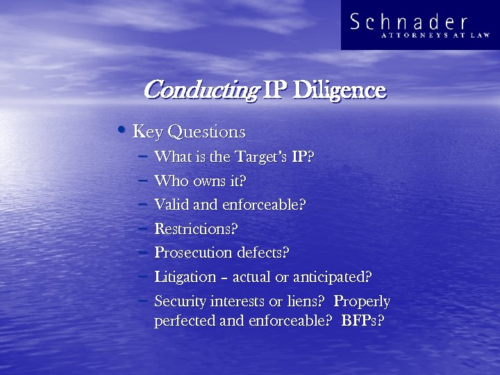 Conducting IP Diligence • Key Questions – – – – What is the Target's