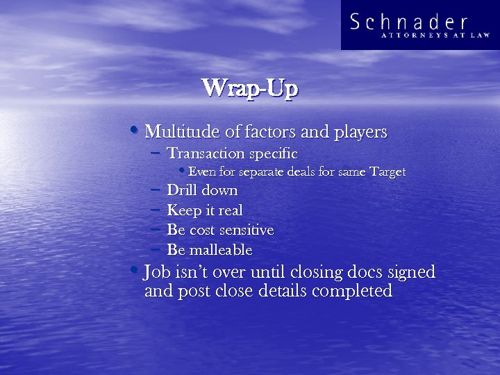 Wrap-Up • Multitude of factors and players – Transaction specific • Even for separate