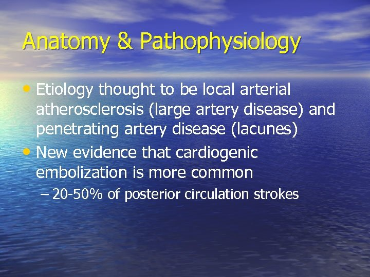 Anatomy & Pathophysiology • Etiology thought to be local arterial atherosclerosis (large artery disease)